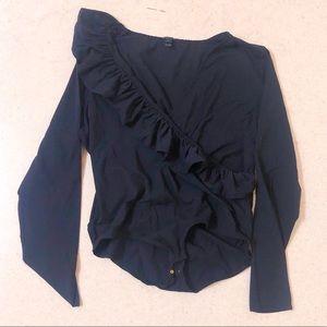 Jcrew black ruffle bodysuit